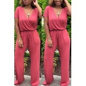 Lovely Euramerican  Drawstring Loose Watermelon Red  One-piece Jumpsuit