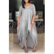 LovelyCasual Asymmetrical Grey Floor Length Dress
