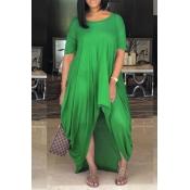 LovelyCasual Asymmetrical Green Floor Length Dress