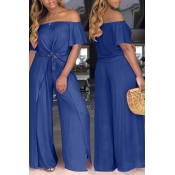 LovelyEuramerican Dew Shoulder Side Slit Navy Blue Two-piece Pants Set