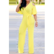 94f7bdf84480 Other color  Lovely Casual Cold-shoulder Yellow One-piece Jumpsuit (With  Belt ) ...