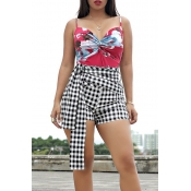 Lovely Fashion Floral Printed Red Two-piece Shorts