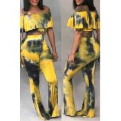 Lovely Fashion Dew Shoulder Flounces Design Multic