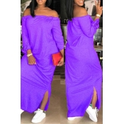 Lovely Casual Dew Shoulder Slit Hem Purple Ankle Length Dress