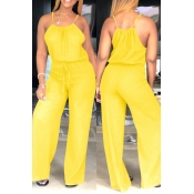 Lovely Euramerican Loose Yellow One-piece  Jumpsuit