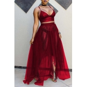 Lovely Sexy V Neck See-Through Wine Red Two-piece Skirt Set