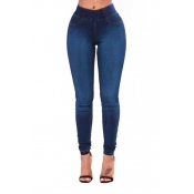 Pantalones Vaqueros Azul Profundo Profundo Encantador De Cintura Alta