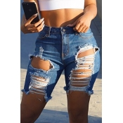 Lovely Chic Hight Waist Broken Holes Baby Blue Denim Zipped Shorts
