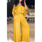 Lovely Casual Dew Shoulder Loose Yellow Two-piece Pants Set