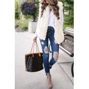 Lovely Fashion Maomao Pocket Design White Blending
