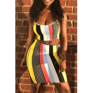 LovelyFashion U Neck Striped Two-piece Skirt Set