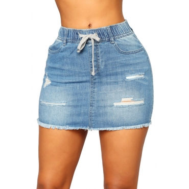 LovelyEuramerican Broken Holes Blue  Skirt