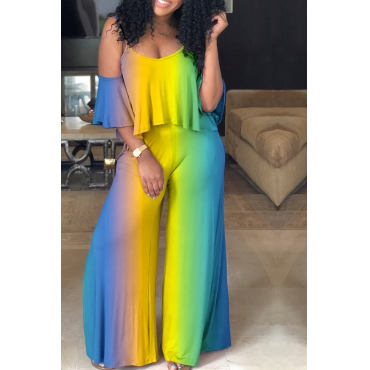 Lovely Leisure Gradient Printed Yellow One-piece Jumpsuit