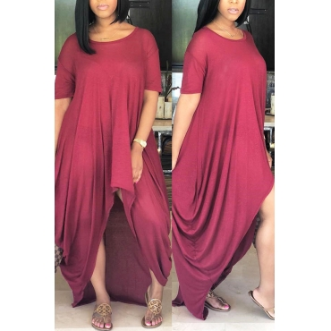 LovelyCasual Asymmetrical Wine Red Floor Length  Dress