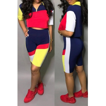 Lovely Euramerican Patchwork  Multicolor Two-piece Shorts Set