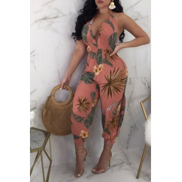Lovely   Casual Halter Neck Printed  Pink    One-piece Jumpsuit