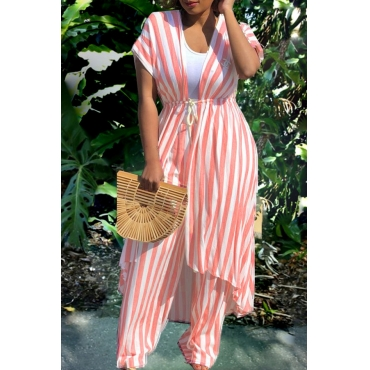 Lovely Casual Striped  Loose  Pink  Two-piece Pants Set