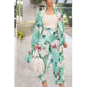 Lovely Casual Floral Printed  Light Green Two-piece Pants Set (Batch Print)