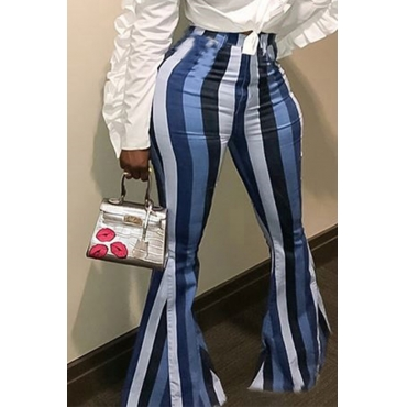 Lovely Euramerican  Striped  Blue  Pants