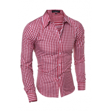Lovely  Casual Plaids Design  Red  Shirt