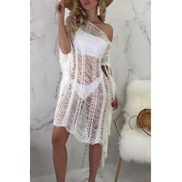 Lovely  Casual Tassel Fringed White  CoverUps
