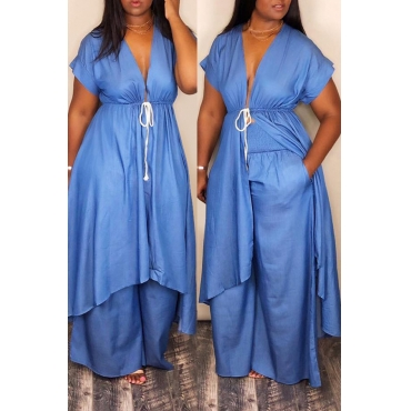 Lovely Euramerican Irregular Hems Blue Two-piece Pants Set