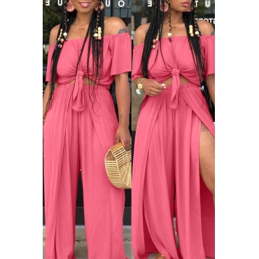 Lovely Euramerican Dew Shoulder  Side Slit   Pink Two-piece Pants  Set