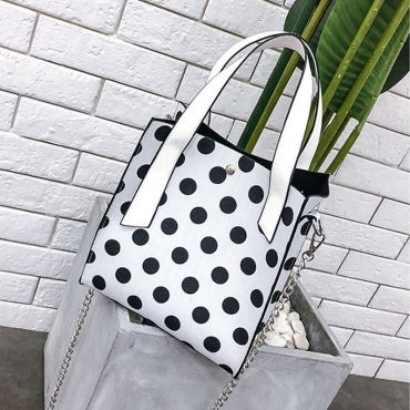 Lovely Fashion Dots Printed White Shoulder Bags