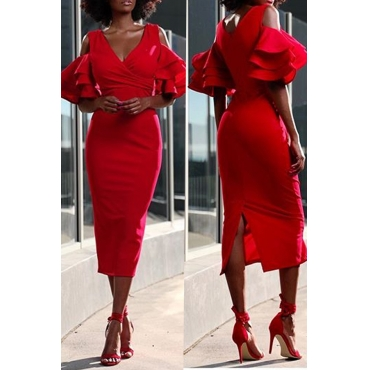 LovelyTrendy Flounces Sheath Red Mid Calf Dress