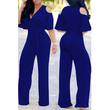 Lovely Casual Cold-shoulder Blue One-piece Jumpsuit (With Belt )