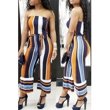 Lovely Euramerican Dew Shoulder  striped Multicolor One-piece Jumpsuit (With Belt )