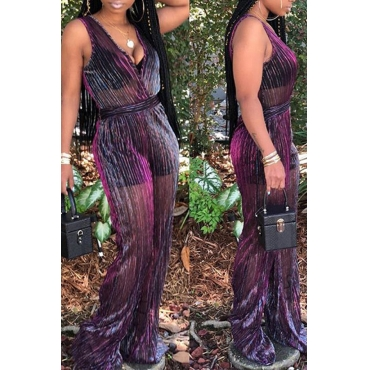 Lovely Casual See-through Purple  One-piece Jumpsuit(With Underpants)