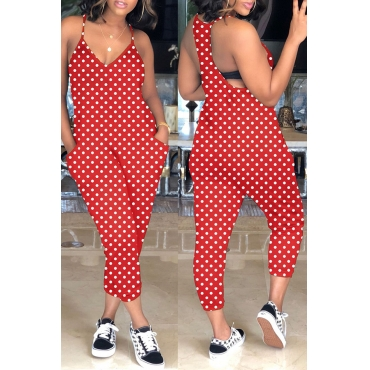 Lovely Casual Dots Printed Pockets  Red One-piece Jumpsuit