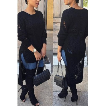 Lovely  Casual Asymmetrica Black Cotton Sweaters