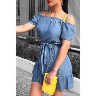 Lovely Casual  Flounces Design Baby Blue Denim Mini Dress