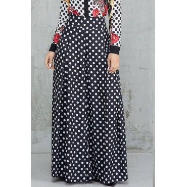 Lovely  Casual Dots Printed Loose Black Pants