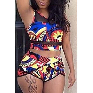 Lovely Charming Round Neck Printed Polyester Two-piece Swimwear