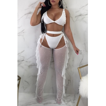 Lovely Sexy Hollowed-out Nail Bead Design White Qmilch Two-piece Pants Set(With Underclothes)