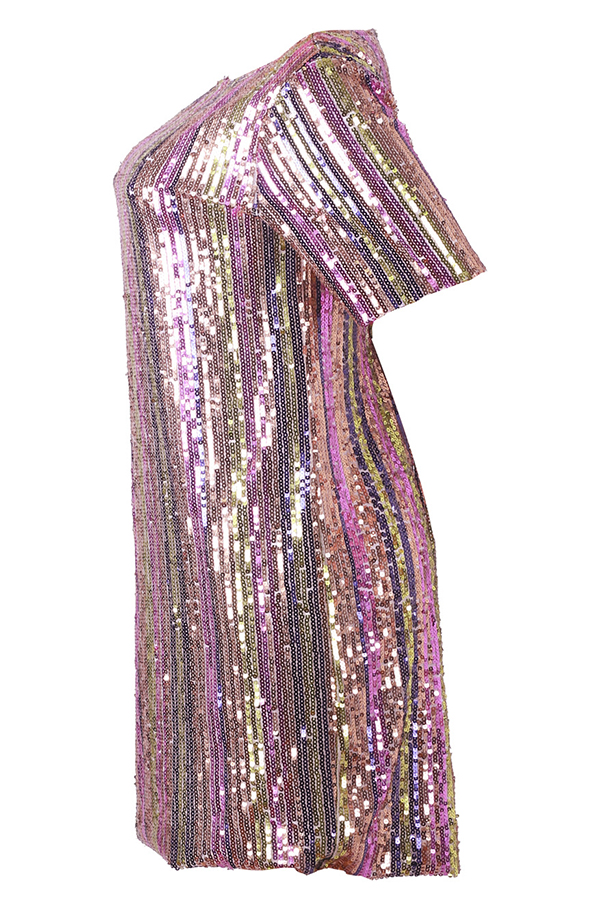 Lovely Fashion Striped Sequined Decorative Multicolor Blending Knee Length Dress(With Lining)