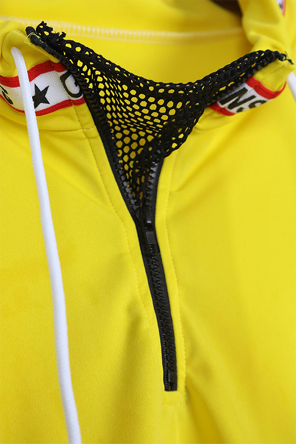 Lovely Casual Long Sleeves Net Yarn Splicing  Yellow Hoodies