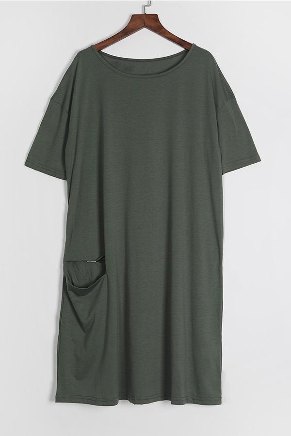 Lovely Casual Knot Design Green Blending Knee Length  Dress