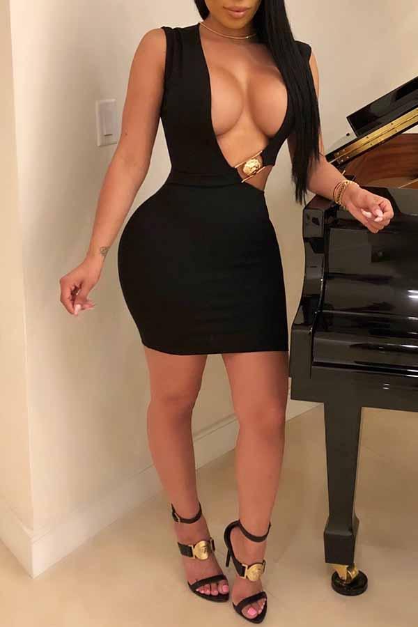 Lovely Sexy Hollowed-out Sheath Black Modal Mini  Dress