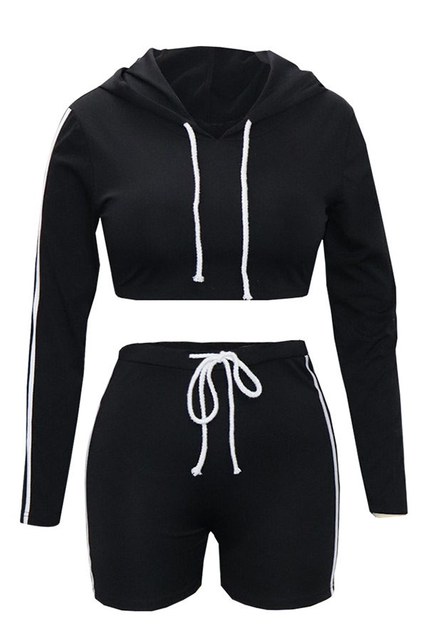 Lovely  Casual Hooded Collar Black Blending Two-piece Shorts Set