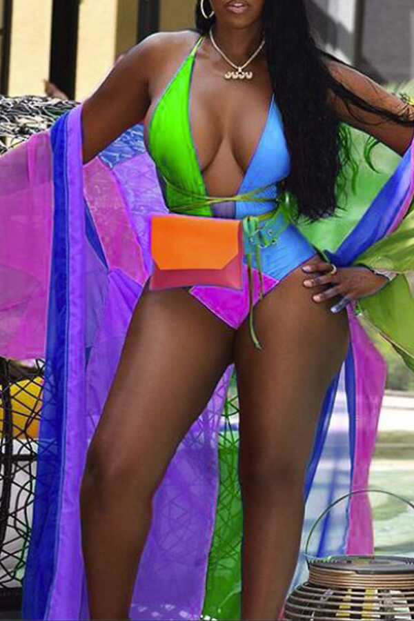 Lovely Casual Patchwork Skinny Purple One-piece Swimwear(Include Coat and Belt  Without Bag)