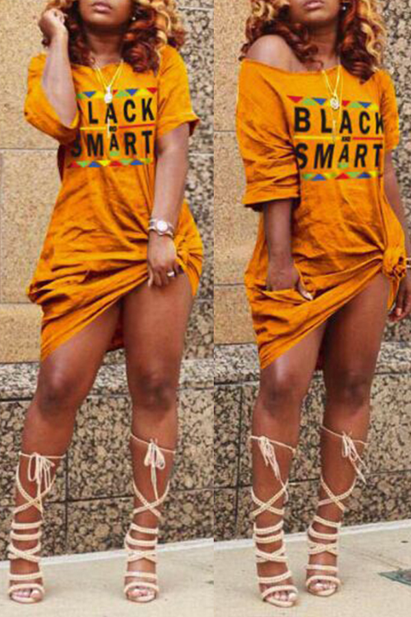 Lovely Euramerican Letters Printed Orange Knee Length Dress