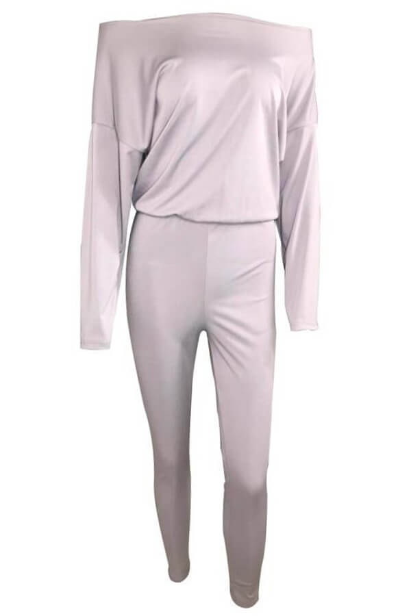 Lovely Casual Dew Shoulder Blending Grey One-piece Jumpsuit