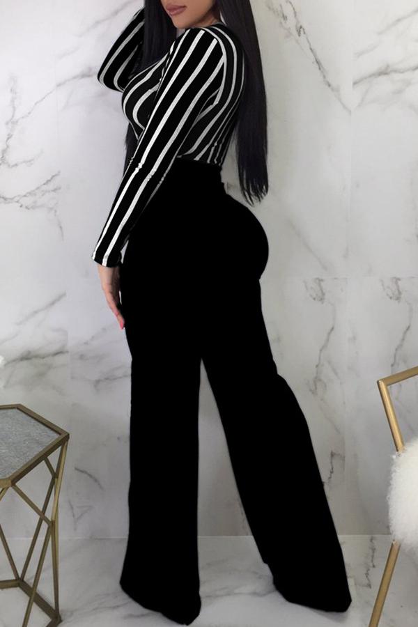Lovely Euramerican V Neck Striped Black One-piece Jumpsuit