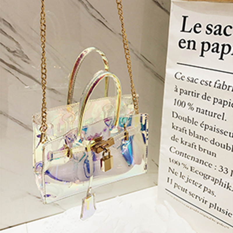 Lovely Fashion Transparent Light Blue Patent Leather Messenger