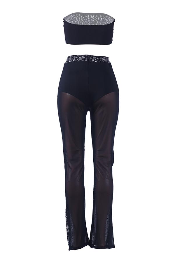Lovely Sexy Dew Shoulder Hot Drilling Black Blending Two-piece Pants Set