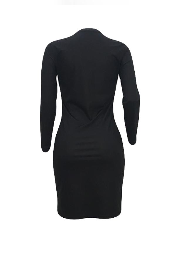 Lovely  Casual Long Sleeves Letter Printed Black Blending Knee Length Dress